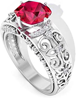 2.15 Ct Cushion Shape Ruby Glass Filled Ring, 0.33 Ct IGI Certified Diamond IJ-SI Bridal Ring, Solitaire Filigree Ring, Art Deco Engagement Ring