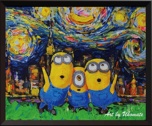 Uhomate Minions Inspired Vincent Van Gogh Starry Night Posters Home Canvas Wall Art Nursery Decor Living Room Wall Decor A010 (13X19)