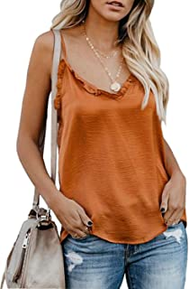 Women Summer V Neck Ruffle Camisole Tank Top Sexy Adjustable Spaghetti Shirt