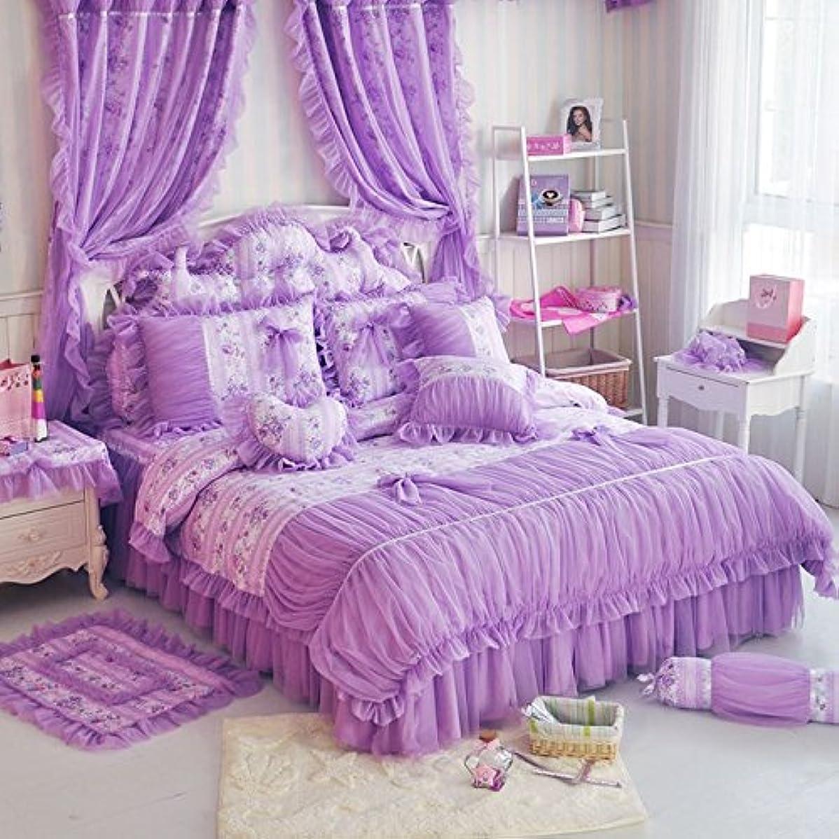 彼ら領事館非難Sisbay韓国農村プリンセス寝具、繊細な花柄プリントレース布団カバー、ベビーガールズ用フリル付きファンシー結婚ベッドスカート ツイン パープル