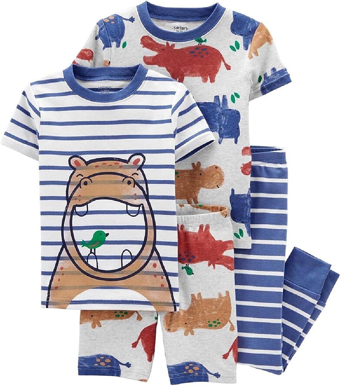 Carter's 4-Piece Hippo 100% Snug Fit Cotton PJs (12 Months) Blue