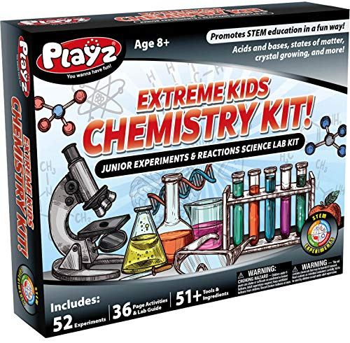 Playz STEM Extreme Kids Chemistry Junior Experiments & Reactions Science Lab Kit - 52+ Experiments, 36 Page Laboratory Guide, and 51+ Tools & Ingredients for Boys, Girls, Teenagers, & Kids