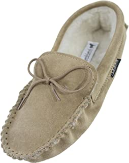 Lambland Men's Wool Lined Soft Sole Moccasin Slippers