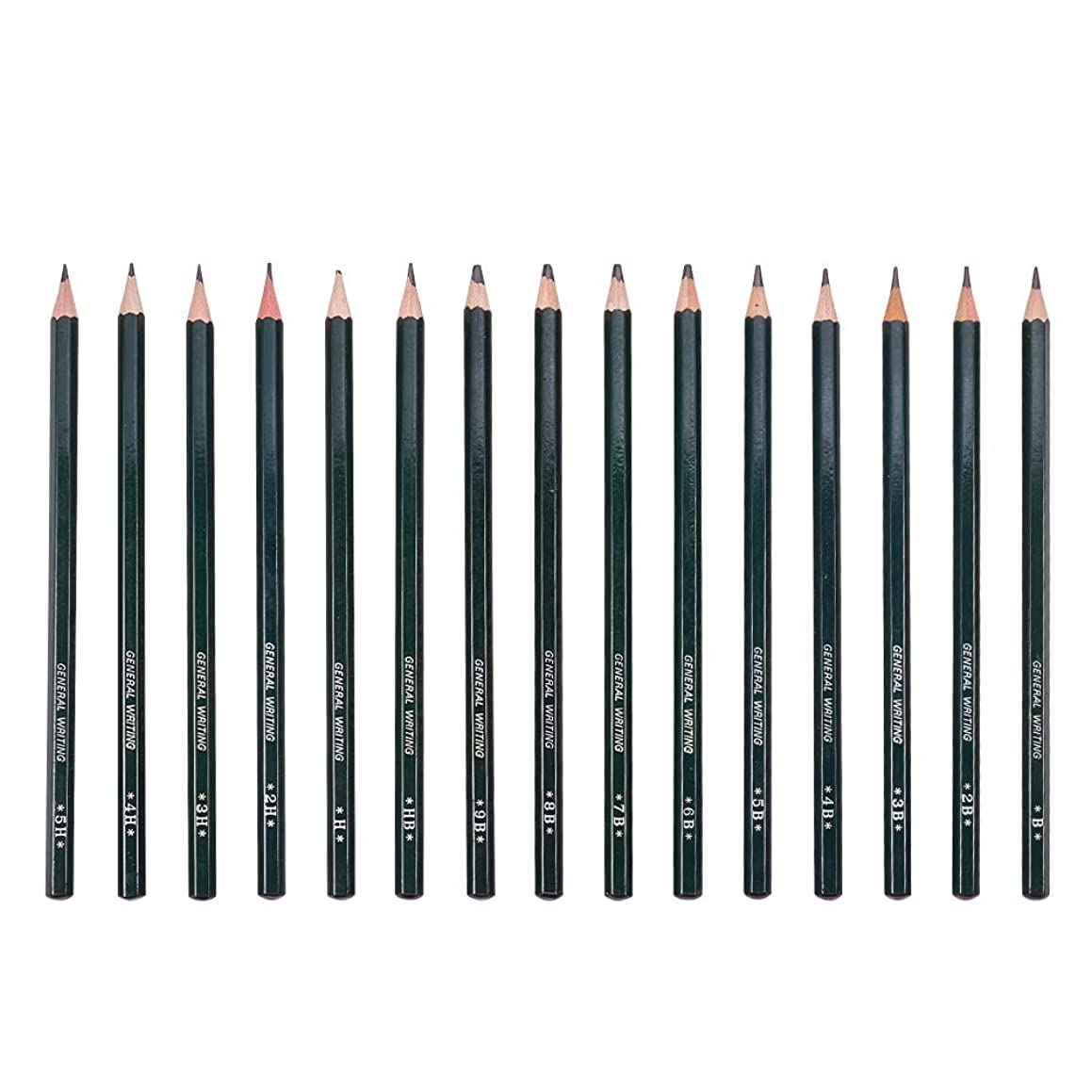 PandaHall Elite 18 Pieces Drawing Pencils 5H, 4H, 3H, 2H, H, HB, B, 2B, 3B, 4B, 5B, 6B,7B, 8B, 9B Graphite Sketching Pencils Set for Adults and Kid Artists
