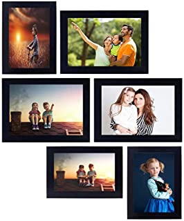 Stuthi Arts Wall Wood MDF Photo Frame With Glass (Black,6 Photos)