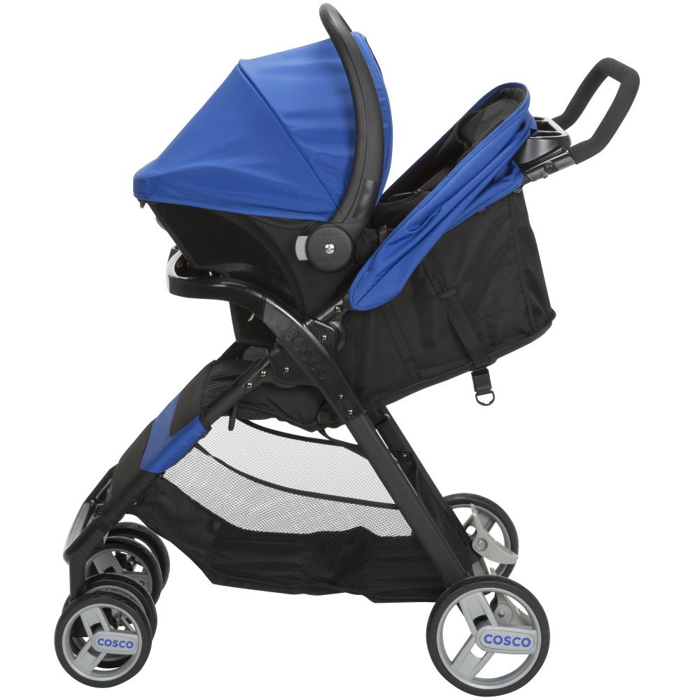 Cosco Simple Fold Travel System with Light and Comfy 22 Infant Car Seat, Sapphire