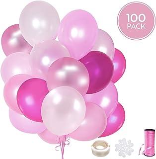 100 Globos rosas de látex + Cinta rosa + Soportes + Pegatinas de pared de globos | 5 colores mezclados | Fiesta rosa, Primera Comunion, Bautizo Niña, Boda, ...