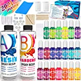 Catcrafter Crystal Clear Epoxy Resin Art Kit - Color Dye Pigment Craft supplies & materials Set kit with Silicone Mat Non Toxic paint Stir Sticks for Beginners Accessories Amazing Cast Jewelry Making