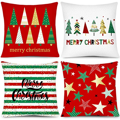 Whaline Christmas Pillow Case Merry Christmas Pillow Cover Xmas Tree Star Throw Cushion Cover Red Green Cushion Cases for Home Office Sofa Bed Christmas Party Decoration, 4Pcs, 18' x 18'