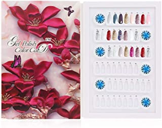 Anself Detachable Nail Display Book,96 Colors 4D Cover Nail Art Gel Polish Color Card (Don't Include Tips) - Red Flower