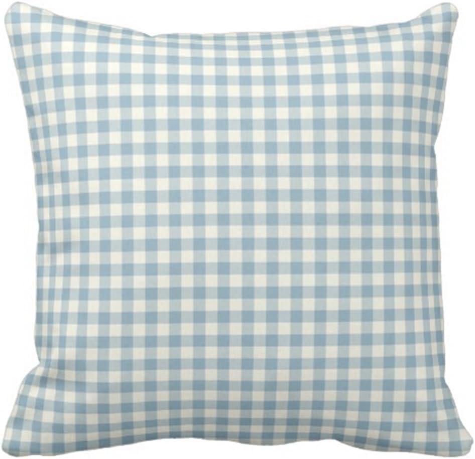 Emvency Throw Pillow Cover Colorful Garden Light Blue Gingham Patio Decorative Pillow Case Home Decor Square 20 X 20 Inch Pillowcase Home Kitchen