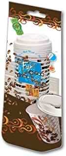 Fun® Coffee Time Insulated Foam-Paper Cup 8oz with Lid - Mocha - Pack of 12