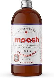 Moosh Natural Dog Shampoo – Promotes Healthy Hair, Coat and Skin. Helps Hot Spots, Dry Itchy Skin, Allergies. Pet Odor Eliminator – Grooming Shampoo. Shea Butter, Argan Oil, Aloe Vera, Bentonite Clay