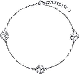 DiamondJewelryNY Silver Anklet Sterling Silver Name Plate Anklet