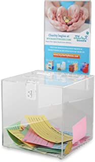Acrylic Raffle Box with Lock and Sign Holder, Charity Donation And Ballot Box, Suggestion Box - Plastic Comment Box - Plex...