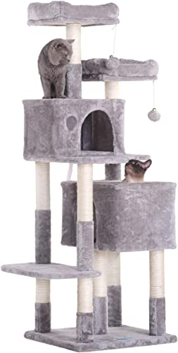 discount Hey-brother 60 inches Multi-Level Cat Tree Condo Furniture with Sisal-Covered Scratching Posts, 2 Plush Condos, 2 new arrival Plush Perches, for Kittens, Cats high quality and Pets sale
