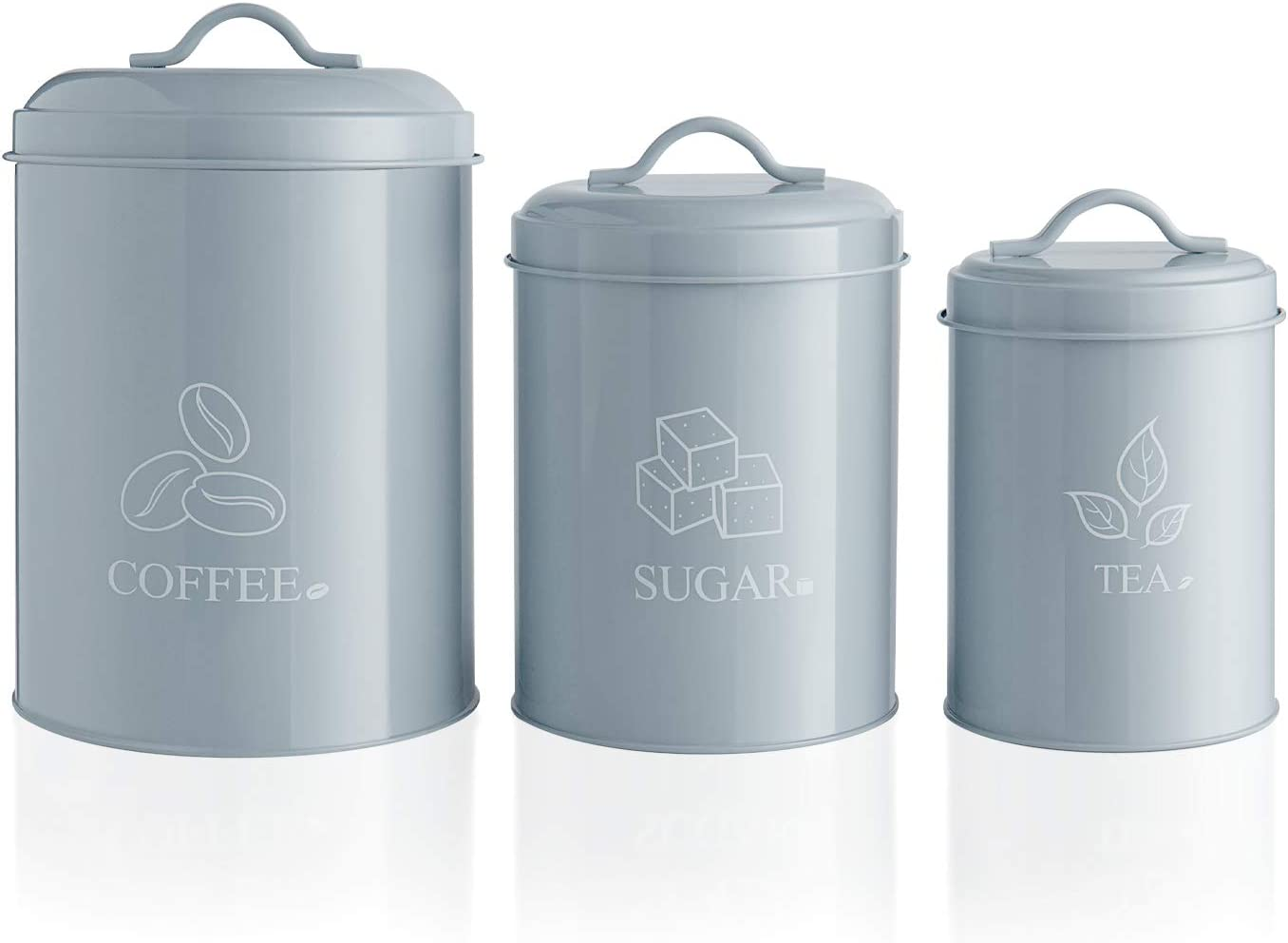 """G.a HOMEFAVOR Creative Decorative Nesting Kitchen Canisters Jars with Lids, Grey Metal Rustic Vintage Farmhouse Container Decor for Sugar Coffee Tea Storage, Set of 3, Largest is 6"""" x 9.4"""""""