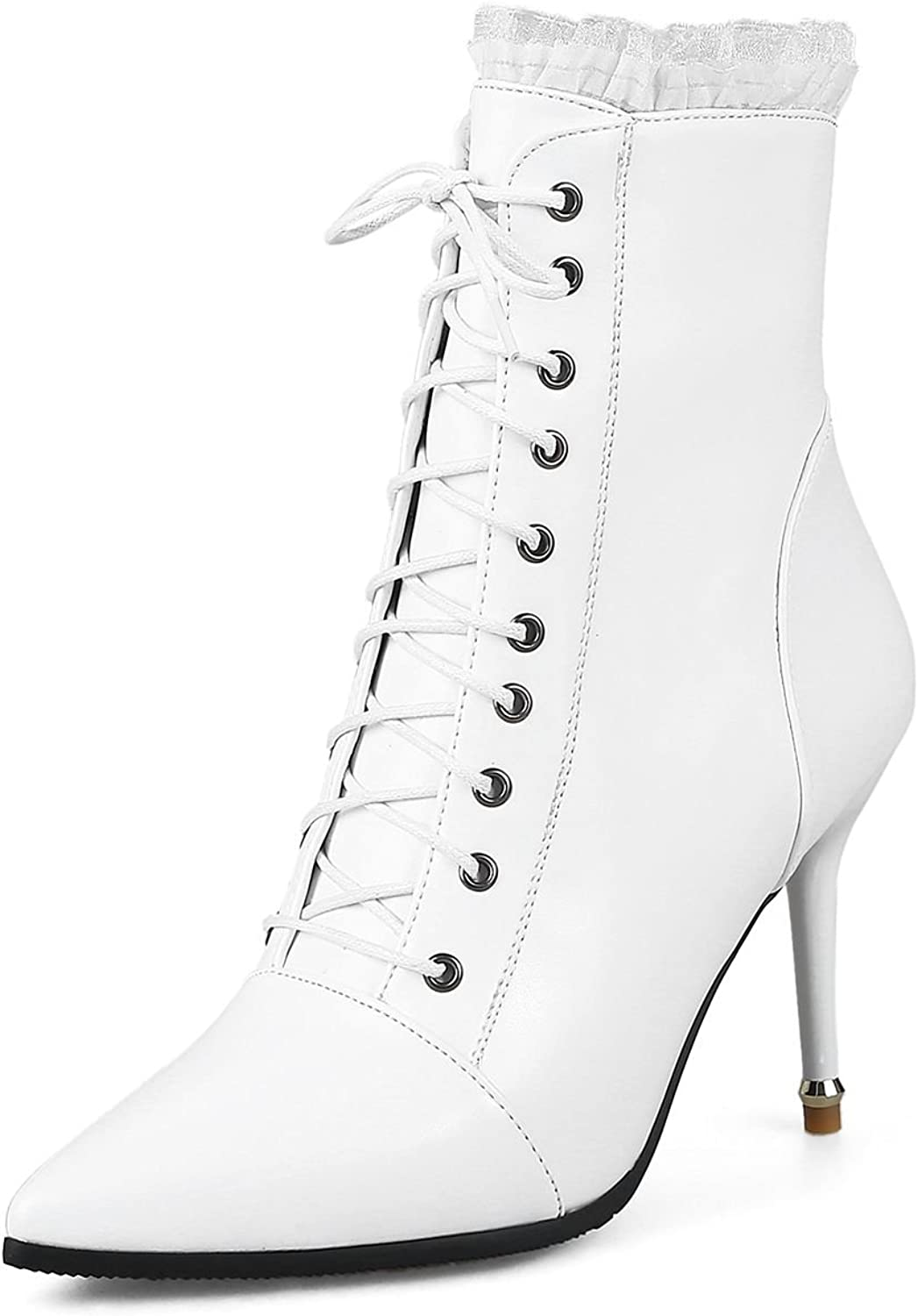 DoraTasia Women's Lace up Pointed Toe Ankle Heel Boots