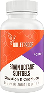 Bulletproof Brain Octane C8 MCT Oil Softgels Supplement, Keto Friendly, for Cognitive Function and Gut Health, 60 Softgels