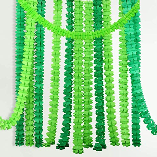 6pcs Hanging Garland Four-Leaf Tissue Paper Flower Garland Reusable Party Streamers for Baby Shower Wedding Nursery Bridal Shower Dino Jumgle Theme (10 Feet/3M Long Each) (Green)