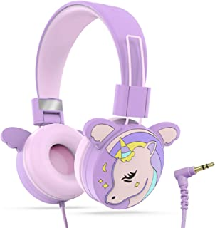 Puersit 子供用 ヘッドフォン 折りたたみ式 キッズ用 ヘッドホン 超軽量 密閉型 有線 ヘッドセット 85dB音量制限 聴覚保護 調節可能 ステレオ (獣パープル)