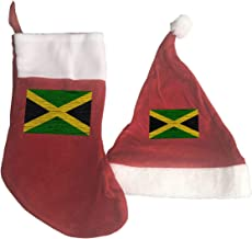 GHYGTY Christmas Stocking and Hat Set,Wooden Texture Jamaican Flag Classic Red and White Xmas Hang Stockings & Santa Hat Ornaments for Family Holiday Xmas Party Decorations