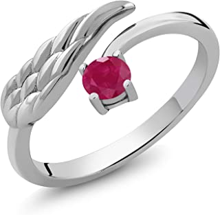 Gem Stone King Sterling Silver Red Ruby Wing Ring 0.30 cttw 4mm Round Gemstone Birthstone (Available 5,6,7,8,9)