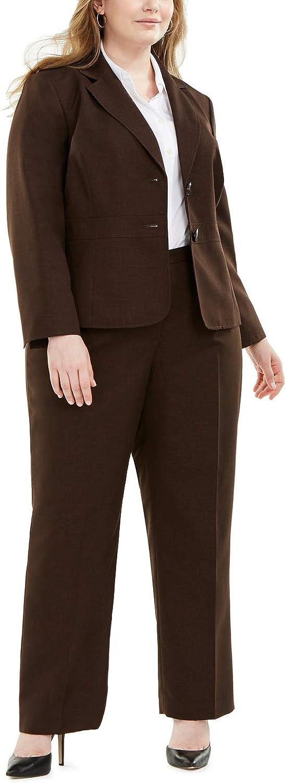 Le Suit Plus Size Two-Button Pantsuit - Espresso 16W