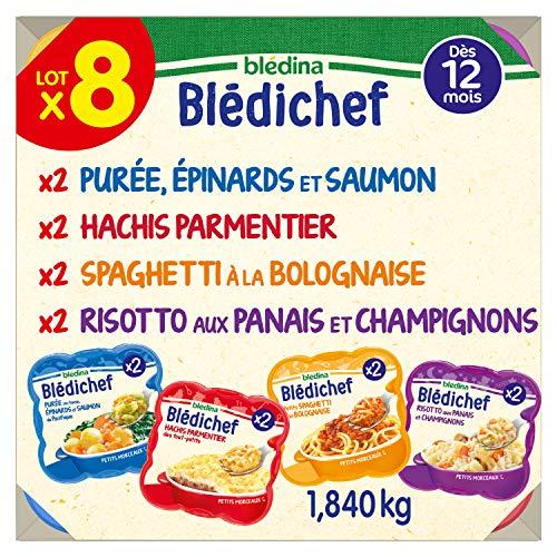 Blédina - Blédichef - 8 repas pour bébé - dès 12 mois - 8 recettes - 2x Hachis parmentiers 2x Petis Spaghetti à la bolognaise 2x Risotto Panais et champignons 2x Purée Epinards et Saumon - 8x230g