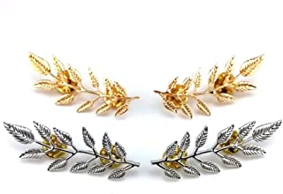 yueton?2 Pairs Metal Golden and Silver Leaves Brooch Suit Shirt Collar Decoration Parts