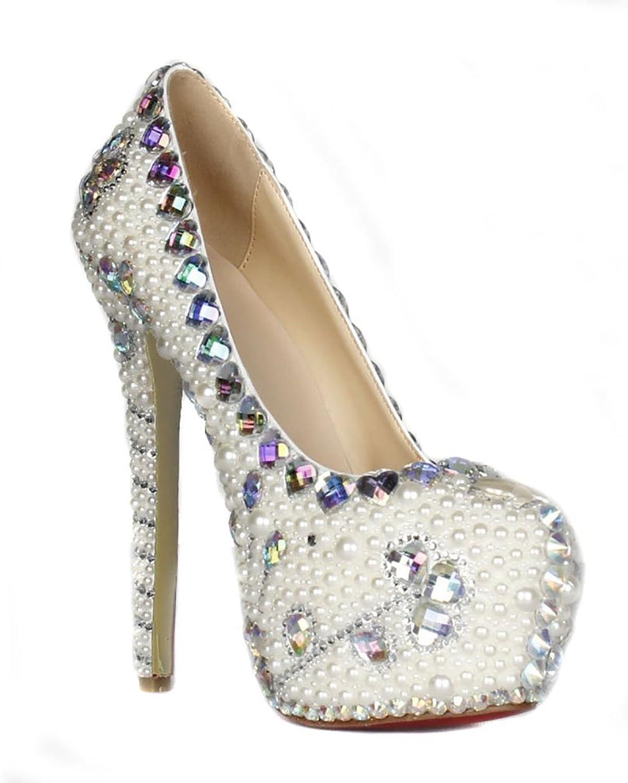 Lacitena Women's Pearl High Heels,Crystal High Heels, Party Bride Wedding shoes