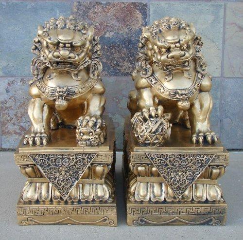 18' Pair of Big Golden Feng Shui Foo Dogs, Fu Dog...