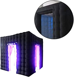 RanBB Inflatable LED Light Photo Booth, 2 Door LED Color Bulb Strip Inflatable Photo Photography Booth Enclosure with LED Changing Lights for Weddings Corporate Events Proms Birthdays Parties
