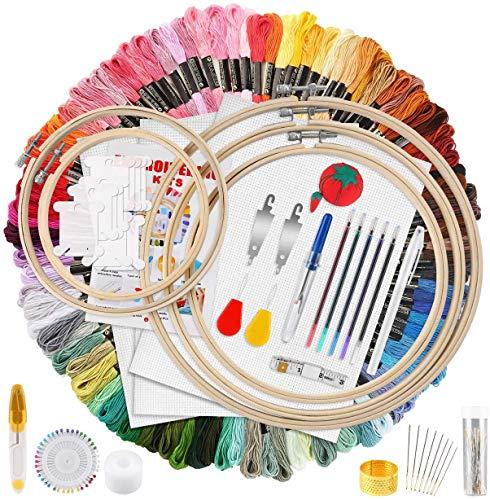 Lifreer Stickerei-Starter-Set, Kreuzstich-Sets für Erwachsene mit 100 Farben Stickgarn, 5 Bambus-Stickrahmen, 3 Stück Aida-Stoff und Kreuzstich-Werkzeuge.