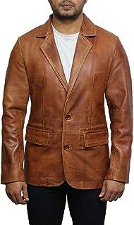 Mens Brown Italian Leather Blazer Jacket Smooth and Elegant slightly waxed Genuine Leather BNWT