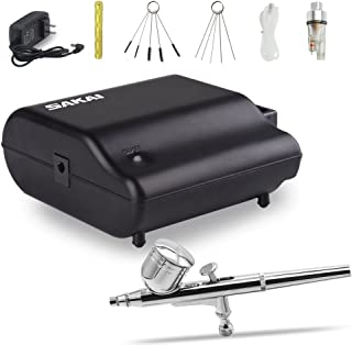Sakai Dual Action Airbrush Kit Portable Air Compressor kit with Airbrush Cleaning Kit for Make up Art Painting Tattoo, Cake Decorating, Nail Beauty