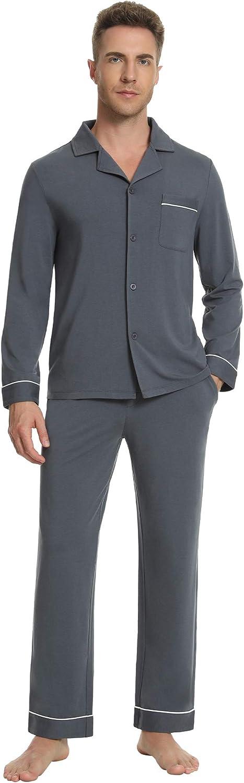 NACHILAMen'sPajamasSetLongSleeveSleepwearButtonDownPjLoungewear with Long Pants S-XL