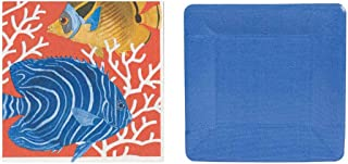 Entertaining with Caspari Plates and Napkins kit for 16 (Coral Reef)