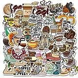 50 Unids/Set De Pegatinas De Graffiti De Café De Dibujos Animados para Equipaje De Ordenador Portátil, Bicicleta, Coche, Monopatín, Ordenador, Calcomanía Impermeable, Juguetes