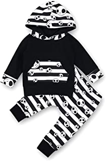 Baby Boys Girls Clothes Skull Printing Long Sleeve Hoodie Top+Cute Pants 2Pcs Outfit Set