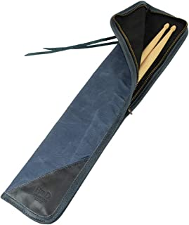 Hide & Drink, Waxed Canvas Drumstick Bag/Drummer Stick Bag Holder/Musician's Essentials Handmade :: Blue Mar