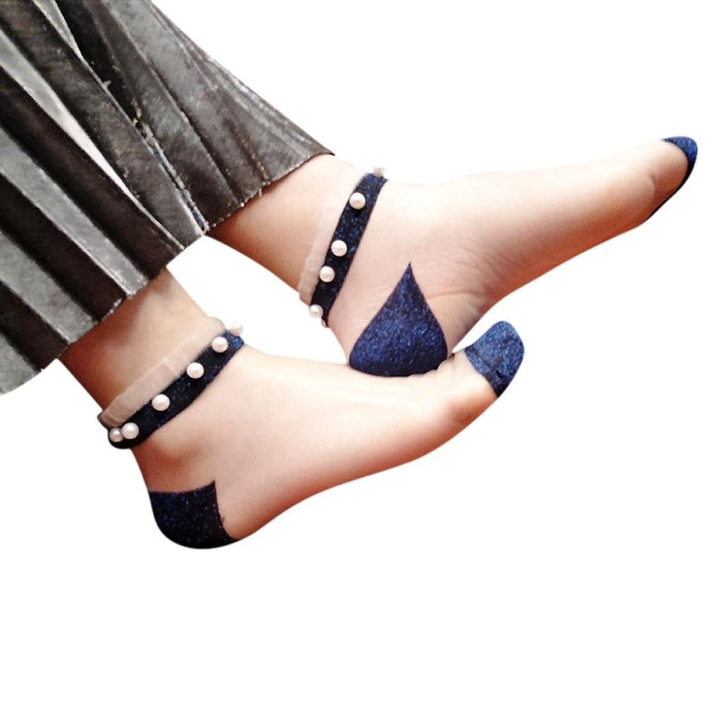 ゲージウミウシ鉄道Mhomzawa 靴下レディース ソックス レディース シースルーソックス ガラスワイヤ ステルス ソックス 象嵌真珠スリップ通気性 極薄 短型 夏用 おしゃれ 超可愛い
