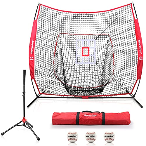 7'×7' Baseball Softball Practice Net Hitting Nets   Hitting, Pitching, Batting, Catching, Fielding...