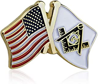 Masonic US Flag and Square & Compass Lapel Pins