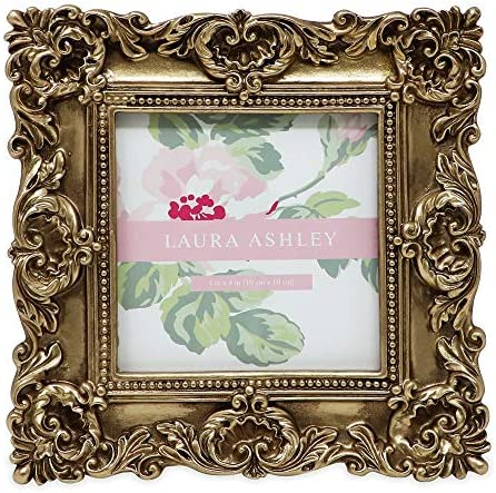 Laura Ashley 4x4 Gold Ornate Textured Hand Crafted Resin Picture Frame with Easel Hook for Tabletop product image