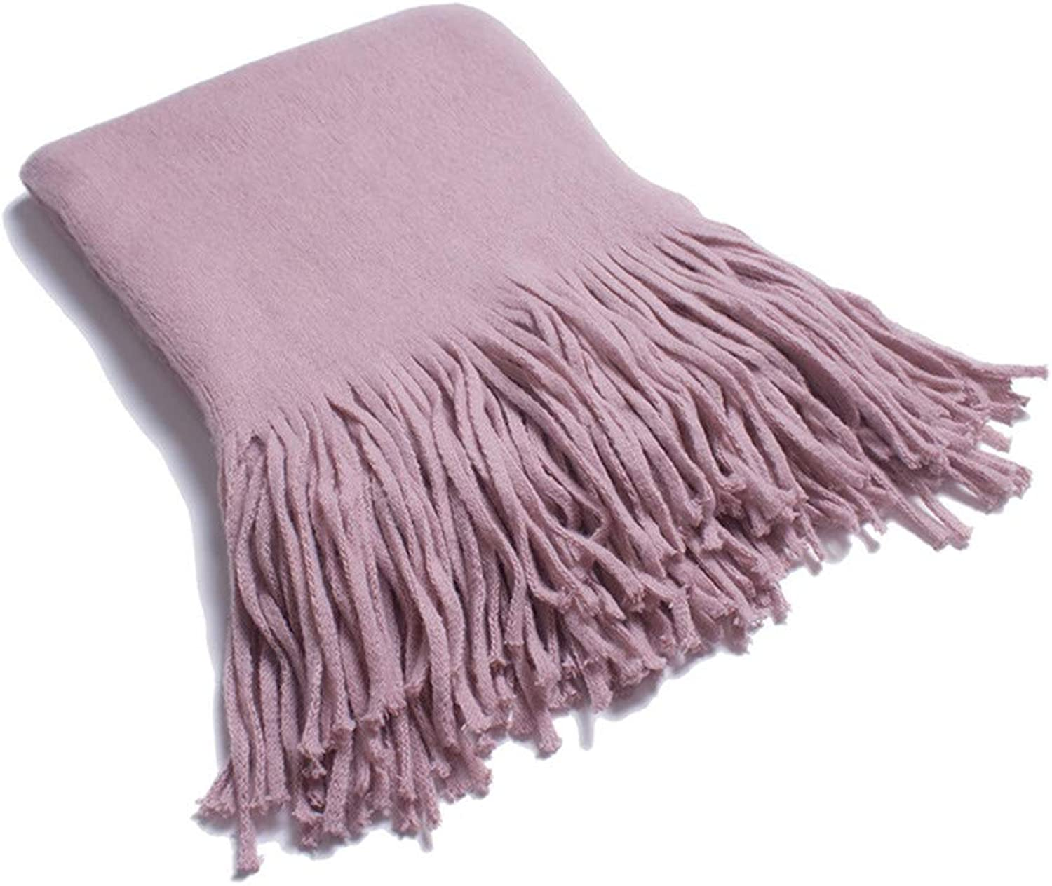 Scarf Women's Solid color Soft Scarf Highgrade Comfortable Breathable Business Casual Tassel Ends Long Wrap Shawl, Fashion Scarves (color   Pink)