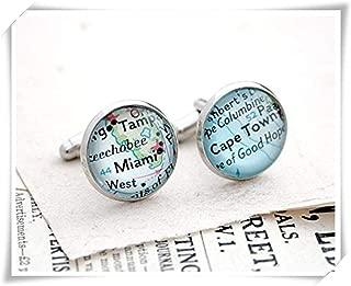 Custom Cufflink, Personalized Must Haves Cufflinks, Vintage Map Cuff Link, Custom Mens Gift Custom City Husband Gift Cufflink