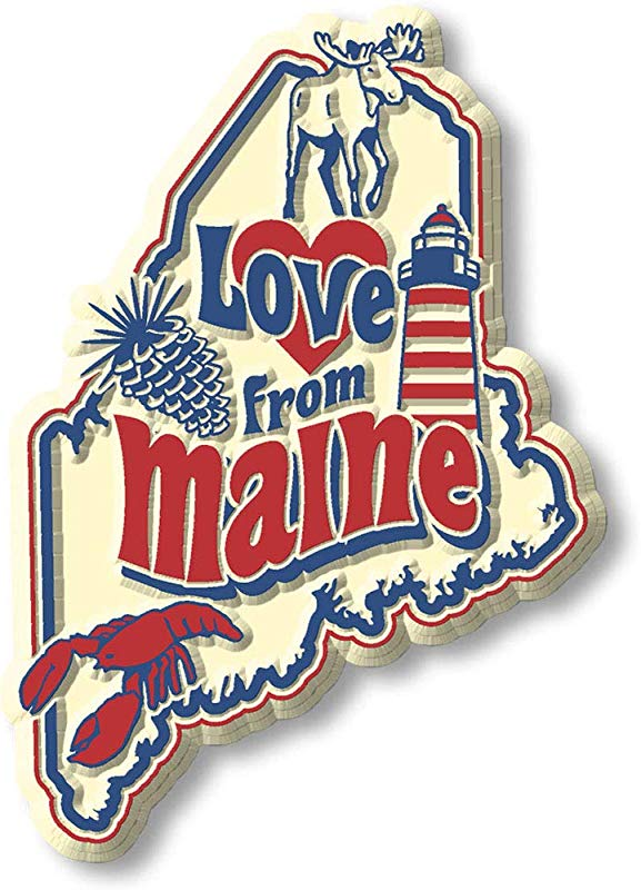Vintage Love From Maine State Map Magnet
