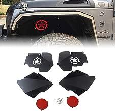 MAIKER Front Inner Fender Liners w/Light for 2007-2017 Jeep Wrangler JK 4WD Five Star logo Lightweight Aluminum Design Black