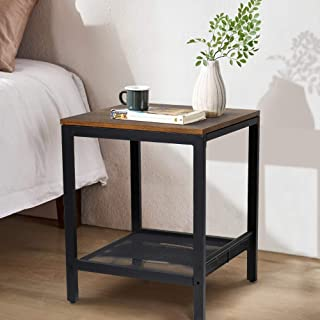 Recaceik End Table, Nightstand, Multipurpose Sturdy Bed Side Table for Bedroom, Brown